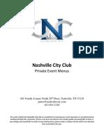 Nashville City Center Event Menu