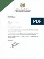 Carta de condolencias del presidente Danilo Medina a Ruth Báez viuda Sánchez por fallecimiento de su esposo, Álvaro José Sánchez Columna