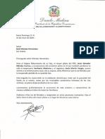 Carta de condolencias del presidente Danilo Medina a Rubí Méndez Hernández por fallecimiento de su hijo, Jesús Salvador Méndez Cuervo