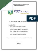 Silabus Geometria Analitica Mañana Jenrri Villalobos 2019 i