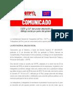 CGTP Y CUT DENUNCIAN AFECTACION DEL DIALOGO SOCIAL EN EL PERU
