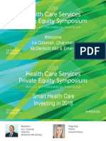 2018 Health Care Services Private Equity Symposium