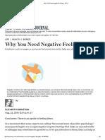 Why You Need Negative Feelings - WSJ