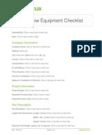 Penetrant Testing Equipment Checklist