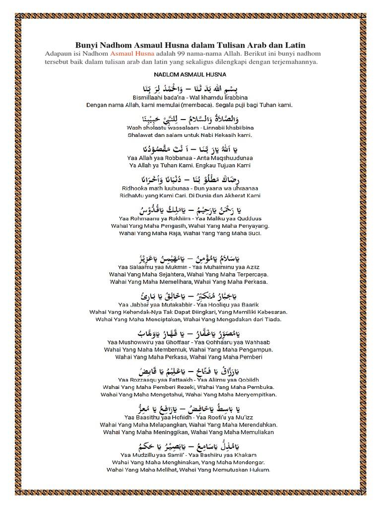 Bunyi Nadhom Asmaul Husna Dalam Tulisan Arab Dan Latin Docx