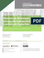 Resistencia de bloques y prismas de mampostería de concreto