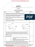 CBSE Class 10 Physics Worksheet - Electricity