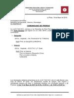 Comunicado de Prensa 10-05-19