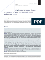 2019 Muscle Radiodensity Loss During Cancer Therapy is Predictive for Poor Survival in Advanced Endometrial Cancer