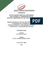 DE QUE MANERA EL MANUAL DE AUDITORIA DE CUMPLIMIENTO CONTRIBUYE AL FORTALECIMIENTO Y TRANSPARENCIA DE LA GESTION DE LA ENTIDADES DEL ESTADO