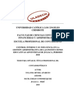 Control Interno Gestion Administrativa e Instituciones Educativas Adventistas Rivera Aparicio Yolanda