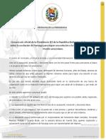 Comunicado del Presidente encargado Juan Guaidó