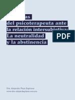 Defensas Del Psicoterapeuta Ante La Relacion Intersubjetiva- Neutralidad y Abstinencia