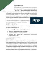 Influencia de La Personalidad en El Rendimiento Academico Proyecto de Investigacion