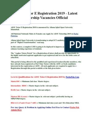 AIOU Tutor E Registration 2019   Pakistan   Islamabad