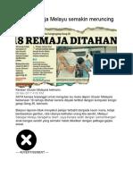Akhlak Remaja Melayu Semakin Meruncing