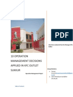 10 Operation Management Decision Applied to KfC Outlet Sukkur