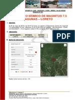 Reporte Complementario Nº 1256 - 26may2019 - Sismo de Magnitud 7.5 Con Epicentro en Lagunas - Lorteto (01)