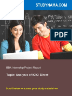 Analysis of ICICI Direct - BBA Finance Summer Training Project Report
