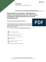 Neuroscience and Education Developmental Study of a Hemispherectomy Case Neurociencia y Educaci n Estudio Evolutivo de Un Caso de Hemisferectom A