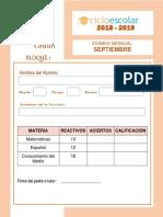 Examen 1er Grado Septiembre B1 2018-2019