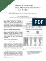 Informe Practica 1, Introducción Al Laboratorio y Ley de Ohm