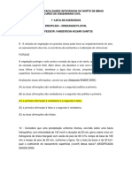 1° Lista de Exercícios - Drenagem 2 Semestre - 2018 - Resolvida - 9 e 10