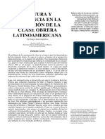 Cultura y Conciencia en La Formacion de La Clase Obrera Latinoamericana