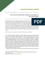 Social Constructions for Rape in the Talk of a Convicter Rapist - LEA, Susan. AUBURN, Timothy