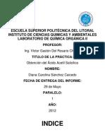 95358433 Informe de Laboratorio de Quimica Organica II Obtencion Del Acido Acetil Salicilico ESPOL