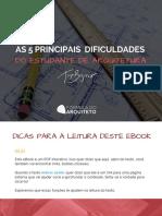 eBook as 5 Principais Dificuldades Do Estudante de Arquitetura.