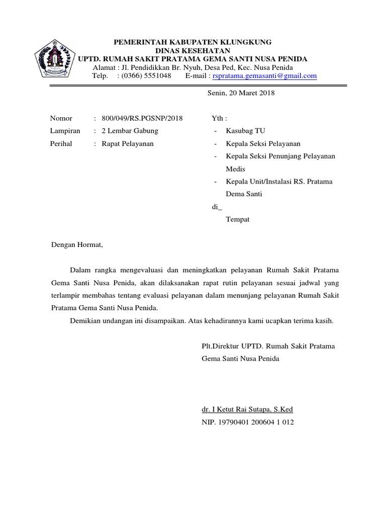 Surat Undangan Rapat Pelayanan