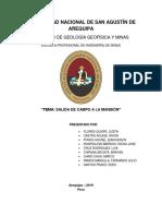 Geologia de Minas - Salida de Campo. INFORME