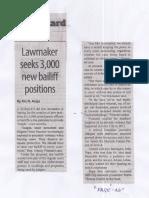 Manila Standard, May 27, 2019, Lawmaker seeks 3,000 new bailiff.pdf