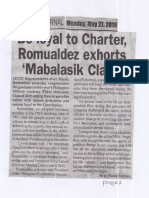 Peoples Journal, May 27, 2019, Be loyal to Charter Romualdez exhorts Mabalasik Class.pdf