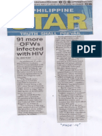 Philippine Star, May 27, 2019, 91 more OFWs infected with HIV.pdf