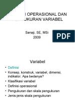 Variabel, Definisi Operasional Dan Pengukuran