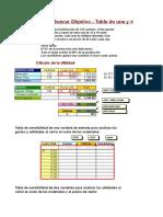 Buscar Objetivo Tabla de 1 y 2 Variables