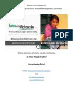 Noticias relevantes del sistema educativo michoacano al 27 de mayo de 2019