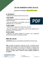 Calendario Del Proceso de Admision Curso 2019 2020