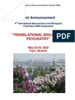 "Symposium Announcement - 4th International Neuroscience and Biological Psychiatry ISBS Symposium ""TRANSLATIONAL BIOLOGICAL PSYCHIATRY"", May 23, 2020, Kyiv, Ukraine"
