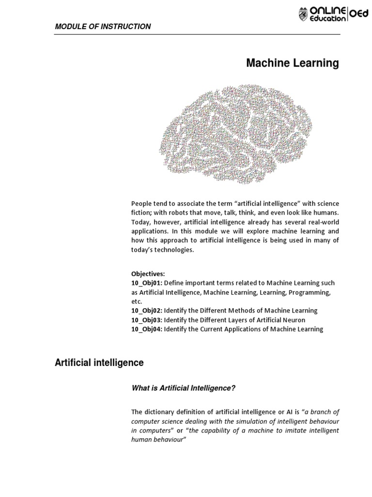 content.pdf | Machine Learning | Artificial Intelligence