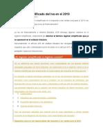 Régimen Simplificado Del Iva en El 2019