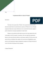 Organizational Behaviour Analysis of Wal