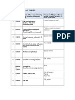Project Action Plan and Timetable