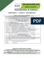 JEE Advanced 2019 Paper-2 Maths