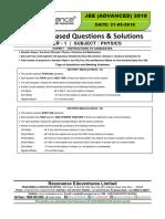 JEE Advanced 2019 Paper-1 Physics
