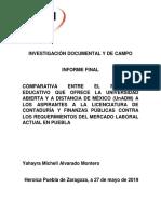 COMPARATIVA ENTRE EL PROGRAMA EDUCATIVO QUE OFRECE LA UNIVERSIDAD ABIERTA Y A DISTANCIA DE MÉXICO (UnADM) A LOS ASPIRANTES A LA LICENCIATURA DE CONTADURÍA Y FINANZAS PÚBLICAS CONTRA LOS REQUERIMIENTOS DEL MERCADO LABORAL ACTUAL EN PUEBLA