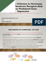 Mechanism of Action of Hormones