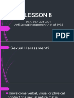 """Republic Act 7877 """"Anti-Sexual Harassment act of 1995"""""""